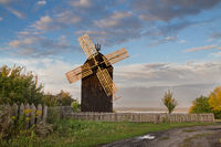 Old wooden windmill in the village Vitachov