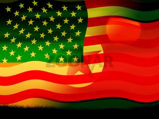 North Korean And US Diplomatic Agreement Flag 3d Illustration