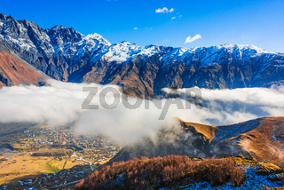Mountains over Stepantsminda formerly Kazbegi in the Khevi province