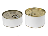 Tin cans with blank label and with key on the cap, isolated on white background.