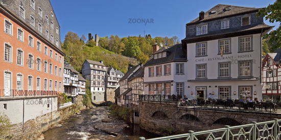 Red House on the Rur and fortifications Haller, Monschau, Eifelstieg, Eifel, Germany, Europe
