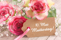 Mother's Day on 10th May 2020 with beautiful roses - german text