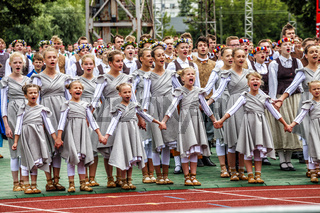 Dancers at Grand Folk dance concert of Latvian Youth Song and Dance Festival