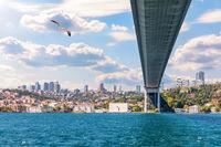 The Bosphorus under the bridge, Istanbul, Turkey