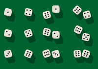 Top view of white dice. Casino dice on green
