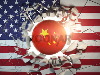 China and USA  tariff war and trade problem concept. Demolition ball in colors of China flag break a wall in colors of USAflag.