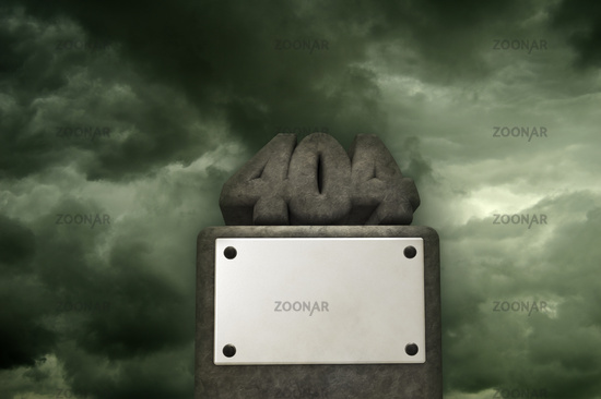the number 404 from stone on pedestal - 3d illustration
