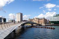 Modern Bridge Lille Langebro in Copenhagen, Denmark