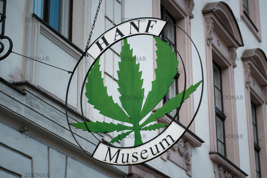 The logo and sign of the Hemp Mueum (Hanf Museum) in Berlin