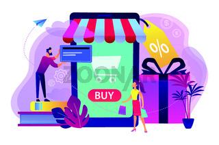 Smart retail in smart city concept illustration.