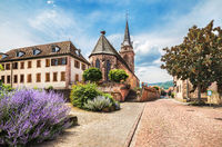Catholic church of the 14th century in Bergheim, France