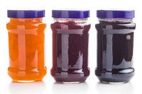 Tasty fruity jam in jar.