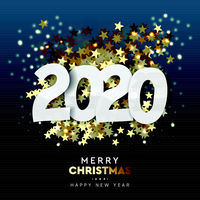 2020 Happy New Year background. Merry Christmas. Vector illustration.