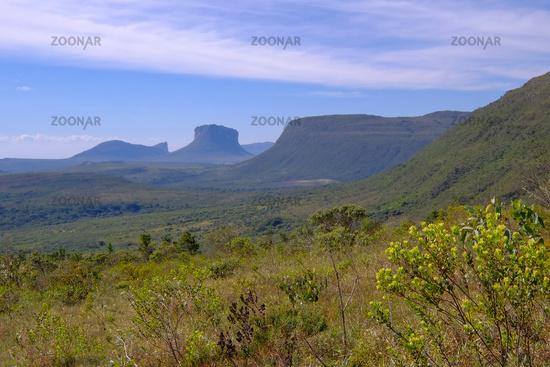 Chapada Diamantina National Park landscape in the Vale Do Capao valley, with the Morro Do Morrao mountain, Bahia, Brazil