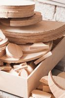 Carpentry concept. Plywood workpieces waiting for processing