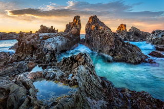 Rocky pillars formed by nature channelling the tidal flows
