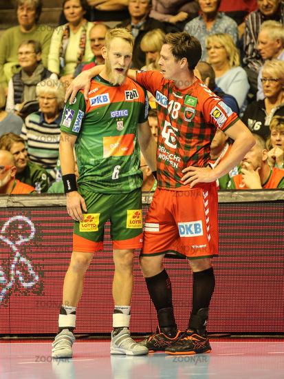 Matthias Musche (SC Magdeburg) and Hans Lindberg (Füchse Berlin)