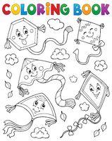 Coloring book happy autumn kites topic 1