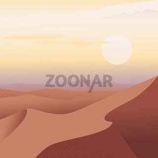 Arabian desert landscape. Sand dune and sun.