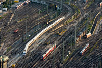 Aerial view over the rails towards Frankfurt central station.