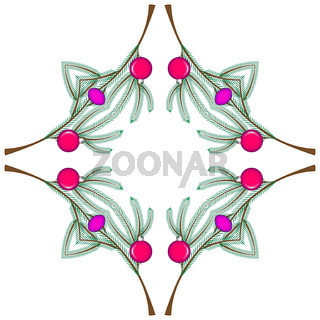 Kaleidoscope of illustration - new year, christmas, holidays. In the picture there is a fir branch decorated with colorful glass balls on a white background.