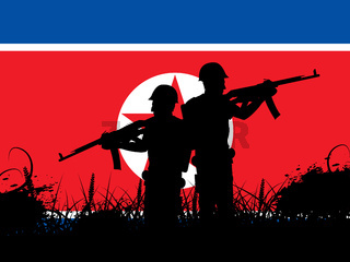 North Korean Military Soldiers At Night 3d Illustration