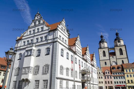 Rathaus und Stadtkirche Wittenberg