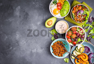 Buddha bowl salads background