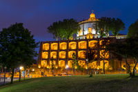 Illuminated Serra do Pilar Monastery at dusk, Porto, Portugal, Europe
