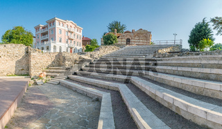 Panorama of the Church of St John Aliturgetos and the Ancient Theatre in Nessebar ancient city on the Bulgarian Black Sea Coast. Nesebar or Nesebr is a UNESCO World Heritage Site. A church in Nessebar
