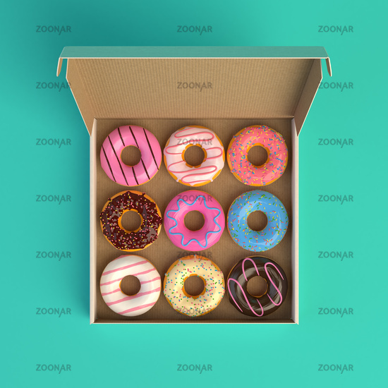 Donut box isolated on mint background 3d-illustration top view