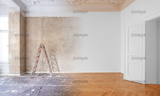 room  before and after renovation or  refurbishment