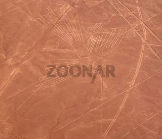 Aerial airplane panoramic view to Nazca geoglyph lines aka Condor, Ica, Peru