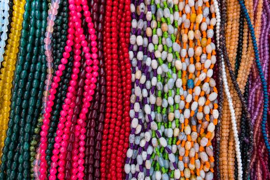 Joyful colored beads necklaces.
