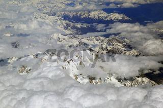 Frankreich, schneebedeckte Alpen im Mont Blanc Gebiet