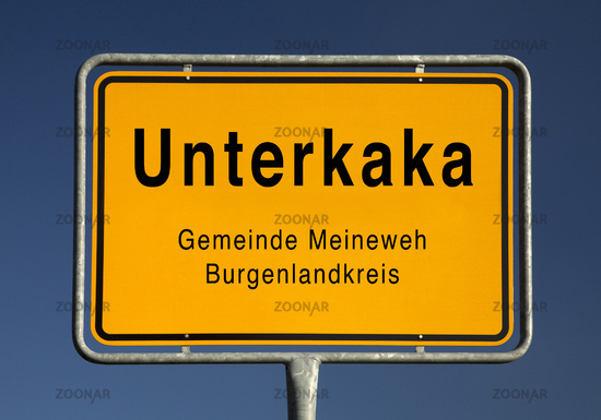 Village entrance sign of Unterkaka, district of the community Meineweh, Germany, Europe