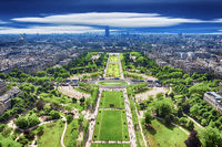 Top view from Eiffel tower on famous Champs de Mars