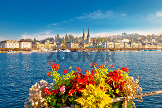 Colorful lake Luzern and town waterfront view