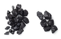 Black Coal Pile Isolated On White Background