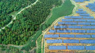 Solar farm, solar panels aerial view