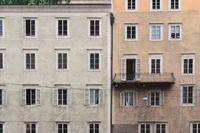 Salzburg - Facades of old town houses on the Salzach river, Austria