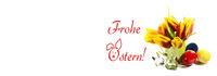 Ostern, Frohe Ostern, Osterkarte, Tulpen, Ostereier, Banner, Header, Headline, Panorama, Textraum,