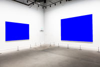 Modern Art Museum Frames Clipping Path Gallery Chroma Blue Spotlights White Minimalist Look
