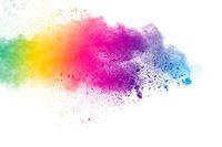 Colorful background of pastel powder.Color dust splash on white background.