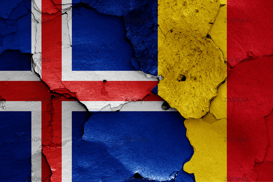 flags of Iceland and Romania painted on cracked wall