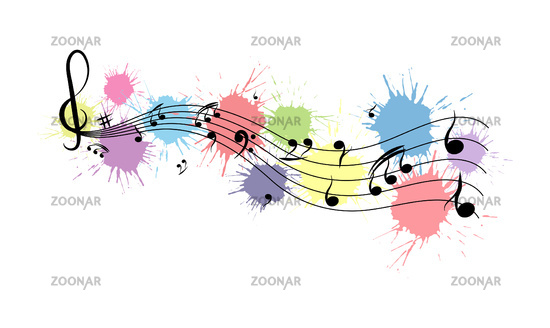 Musical notes on musical lines on the background of colored blots