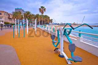 Cannes. Public fitness exercise park by Mediterranean sea in Cannes view