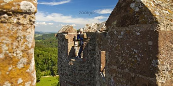 view from castle Kasselburg, Pelm, Vulkaneifel, Rhineland-Palatinate, Germany, Europe