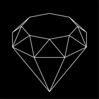 Black diamond shape in 3d and line style. Geometric.
