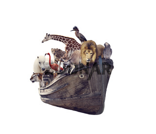 Old boat with wild animals and birds on white background